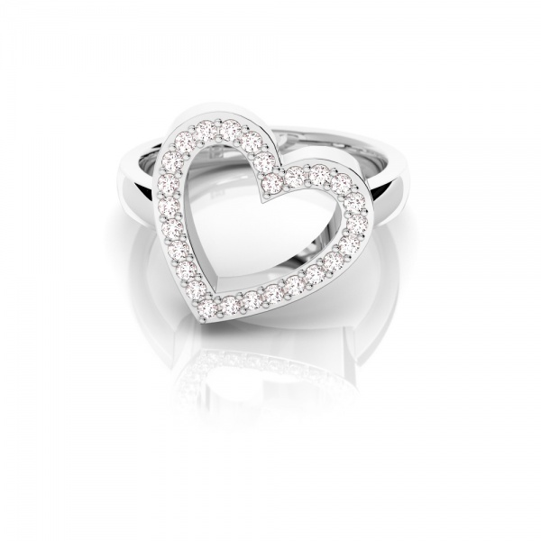 Pave Heart - 0.20ct, 9ct White Gold, Size L