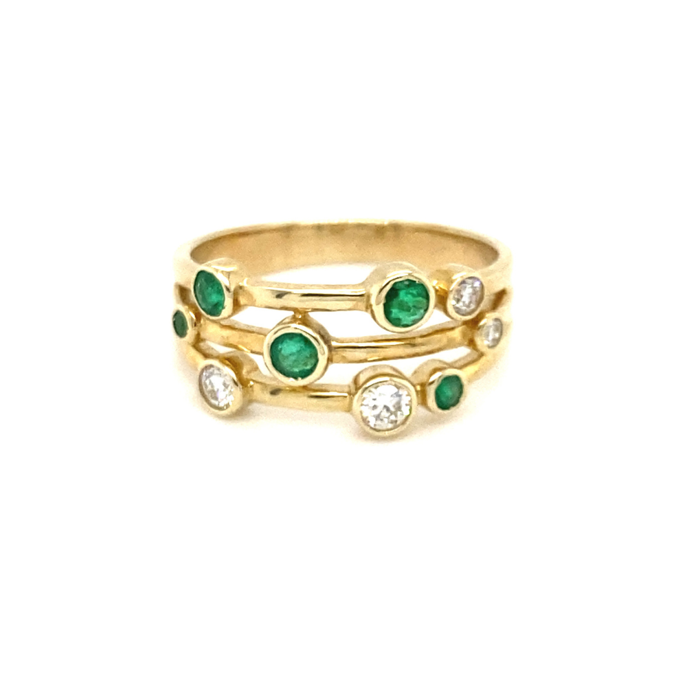 9ct Yellow Gold Emerald & Diamond Multi Stone Ring